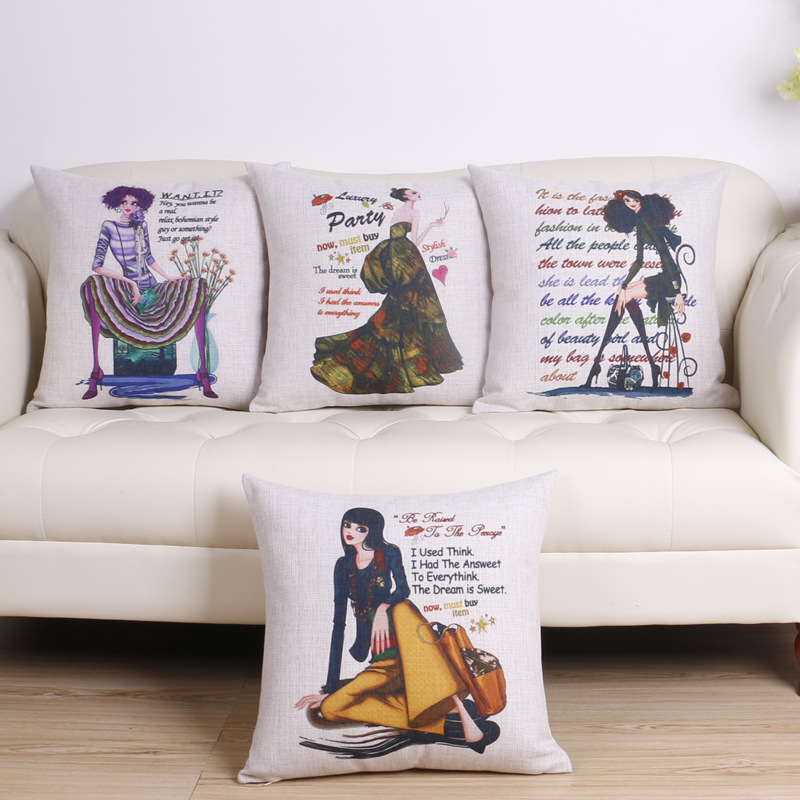 45cm Boho Morden Lady Fashion Cotton Linen Fabric Throw Pillow Hot Sale 18 Inch New Home Decor Sofa Car Cushion Office Nap FR