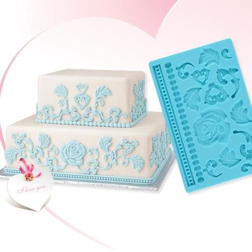 Blue Silicone Cool Baroque Design Pattern Flower Leaf Embossing Cake Mold Decor Kitchen Cooking Hot(China (Mainland))