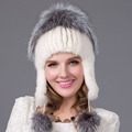Russia winter hats for women genuine mink fur hat with silver fox fur 2016 lady s