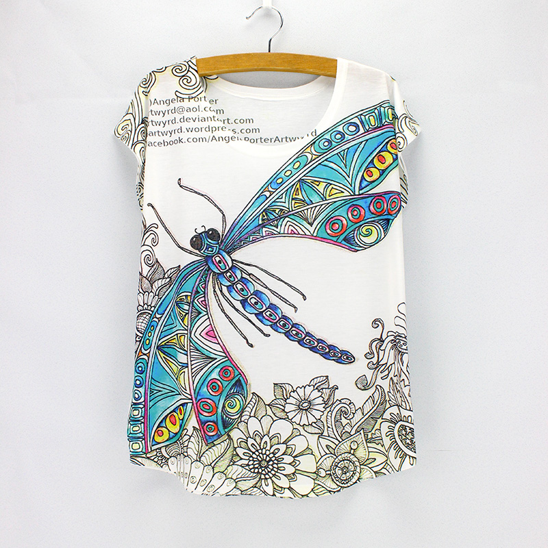 Vintage Dragonfly printed tees women summer dresses 2016 fashion designer t-shirts girls tops wholesale free shipping(China (Mainland))
