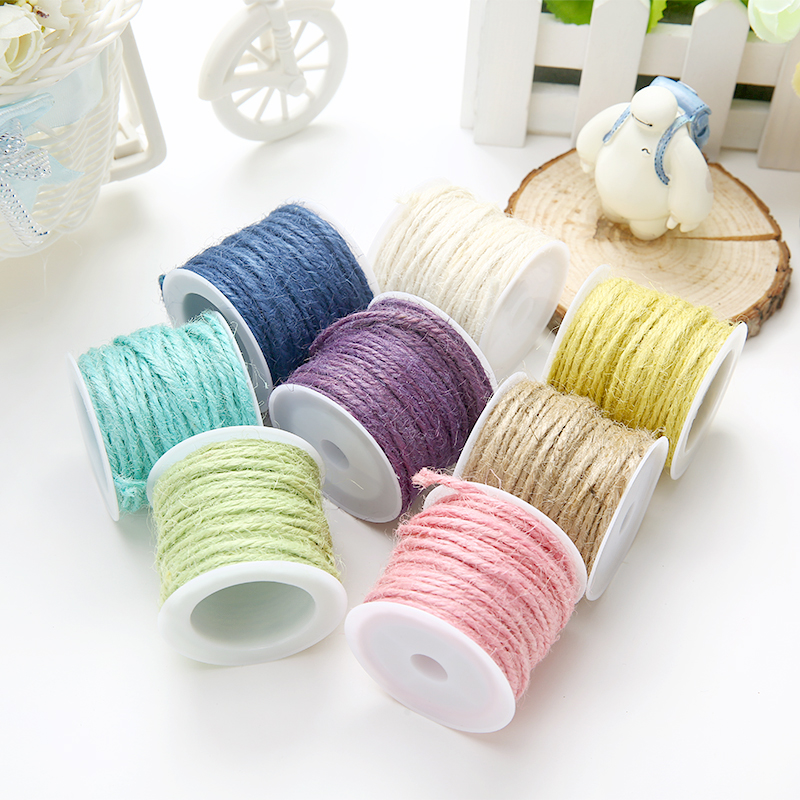 Colorful frame wall hemp rope environmental dyed DIY hand-knitted decorative hemp cord gift pack thread 10 meters 7 colors(China (Mainland))