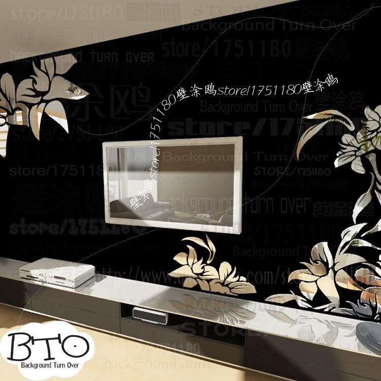 Creative diagonal elegant plant flower large wall mirror stickers best DIY decoration for TV sofa background interior decor R008(China (Mainland))
