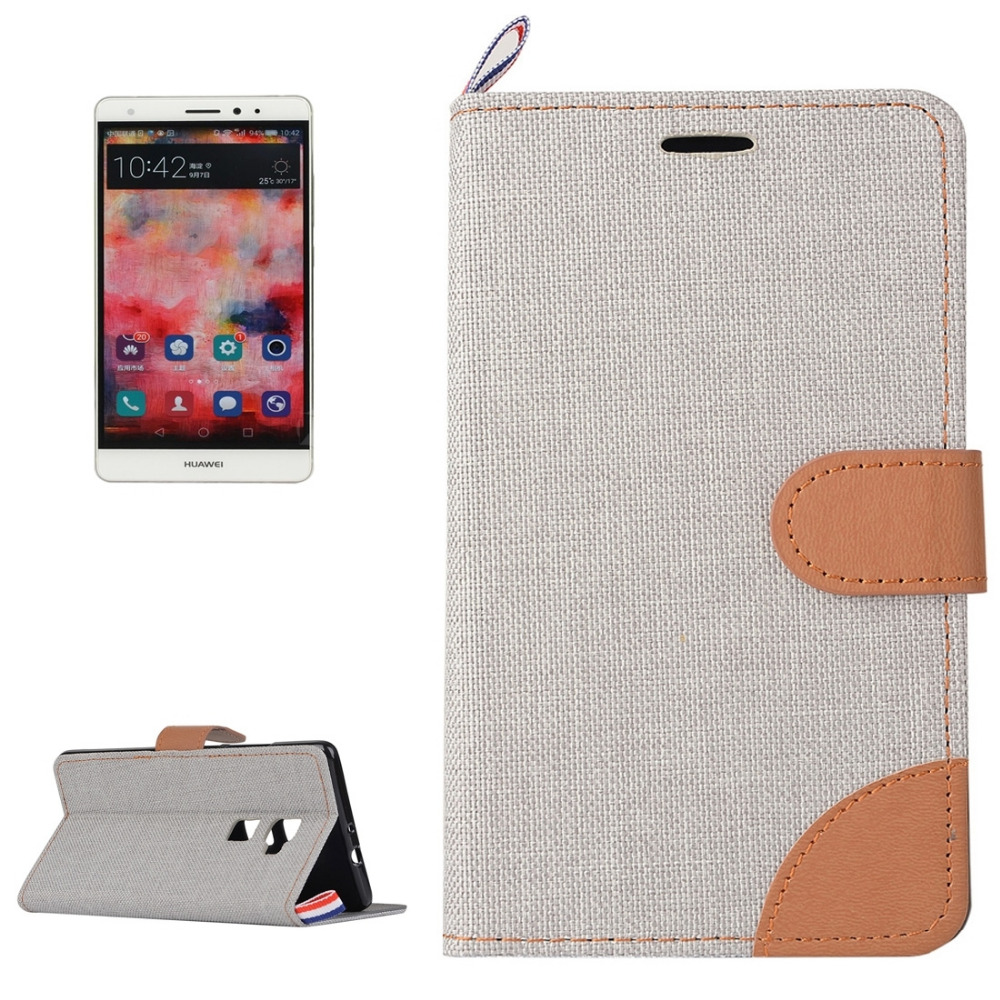 Newest High Quality Denim Texture Horizontal Flip Leather Case with Magnetic Snap Card Slots & Holder & Sling for Huawei Mate S(China (Mainland))
