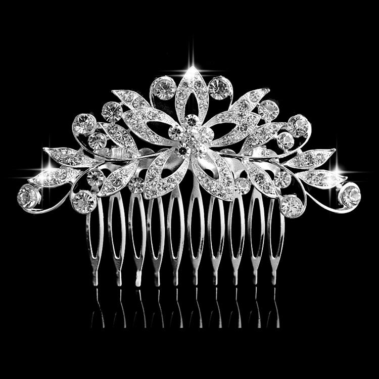 Trendy Woman Decoration Tiara Shine Austrian Crystal Floral Hair Comb Wedding Jewelry - Blue Stone store