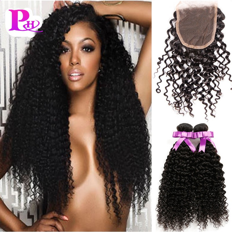 Top Peruvian Curly Hair with Closure Peruvian Kinky Curly Virgin Hair with Closure Peruvian Virgin Hair with Closure Puhui Hair