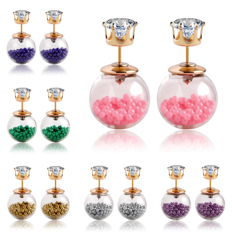 Гаджет  New 11 Colors 2015 Summer Style Glass Stud Earring Pearl Fine Jewelry Fashion Transparent Crystal Ball Earrings For Women CS11 None Ювелирные изделия и часы