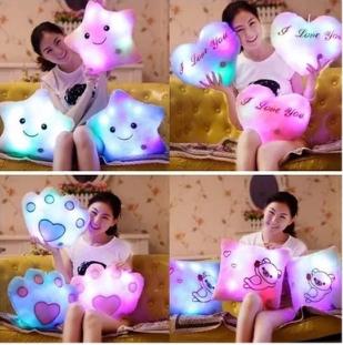 LED Light Pilow Battery Powered Decorative Flashing LED Light Plush Pink Smiling Star Cushion Pillow love pillow(China (Mainland))