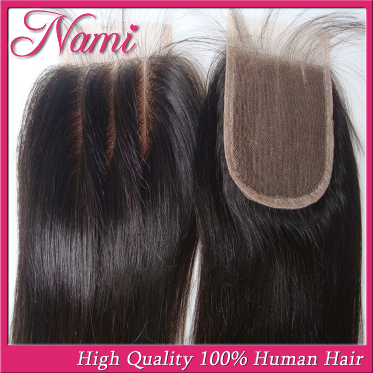 """6A Brazilian Virgin Human Straight Hair Lace Closure 3 Way Part 4""""x4"""" Bleached Knots Free Or Middle Or Three Part Free Shipping(China (Mainland))"""