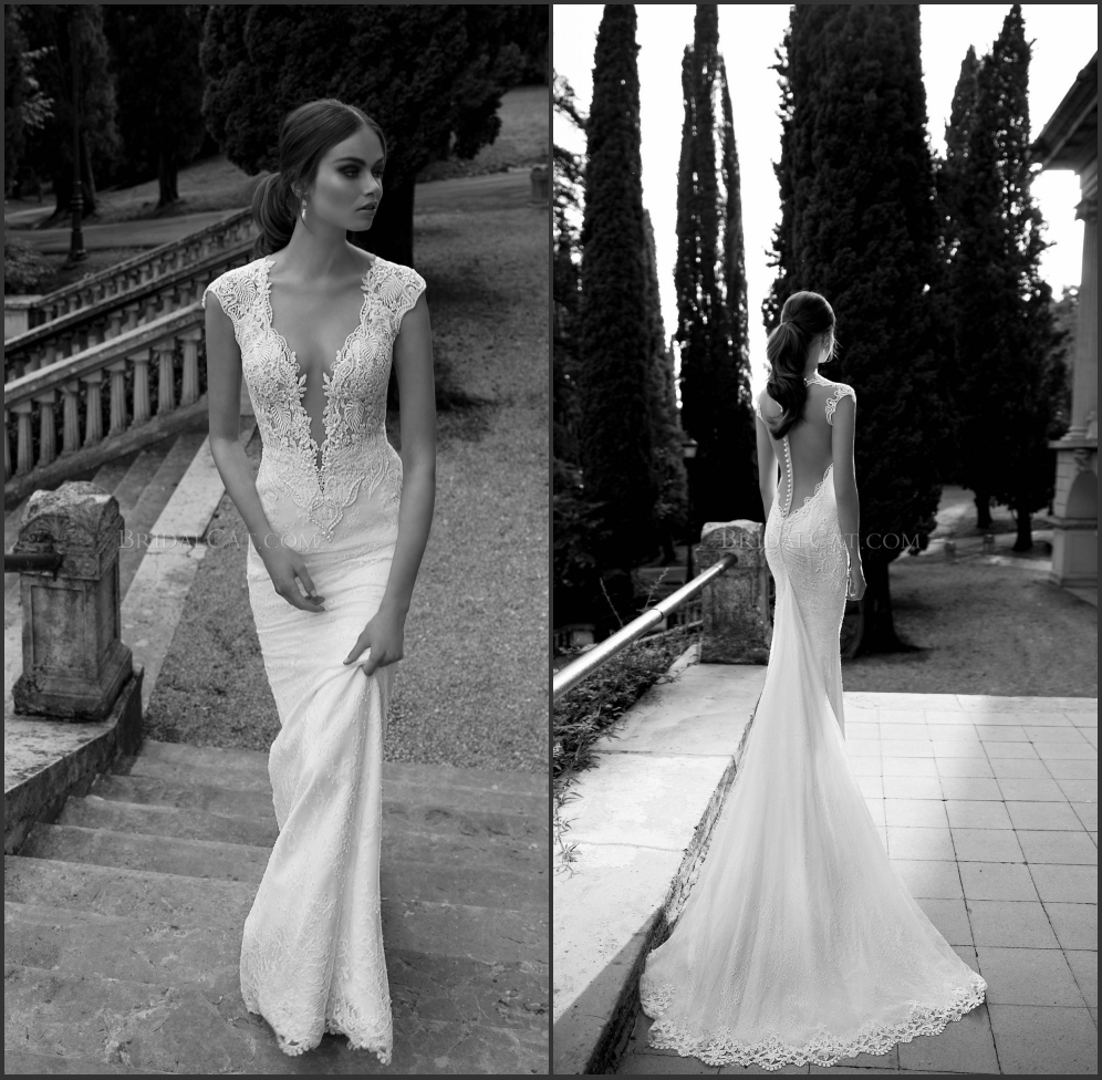 2014 berta bridal gown pearls lace bodice deep v neck for Sheer bodice wedding dress