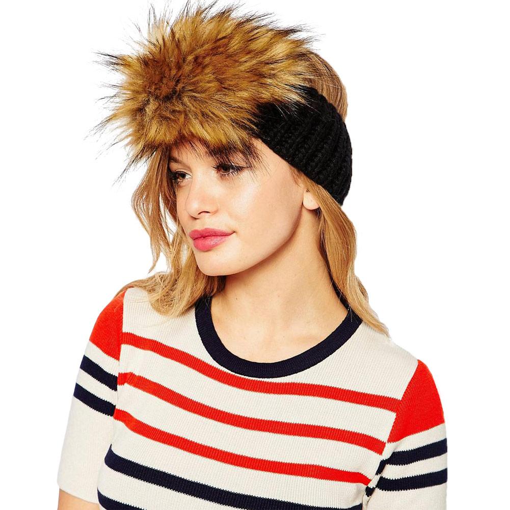 New Winter Women Knitted Hat Headband Faux Fur Trim Elastic Skullies & Beanies Ear Warmer Hat Ladies Headwear(China (Mainland))