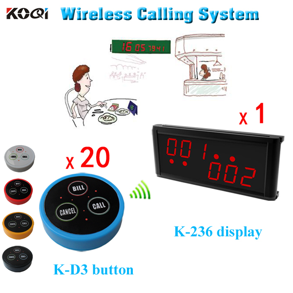 Waiter Service Paging System Restaurant Wireless Service Restaurant Calling(1 Display 20 Waterproof Call Button)(China (Mainland))