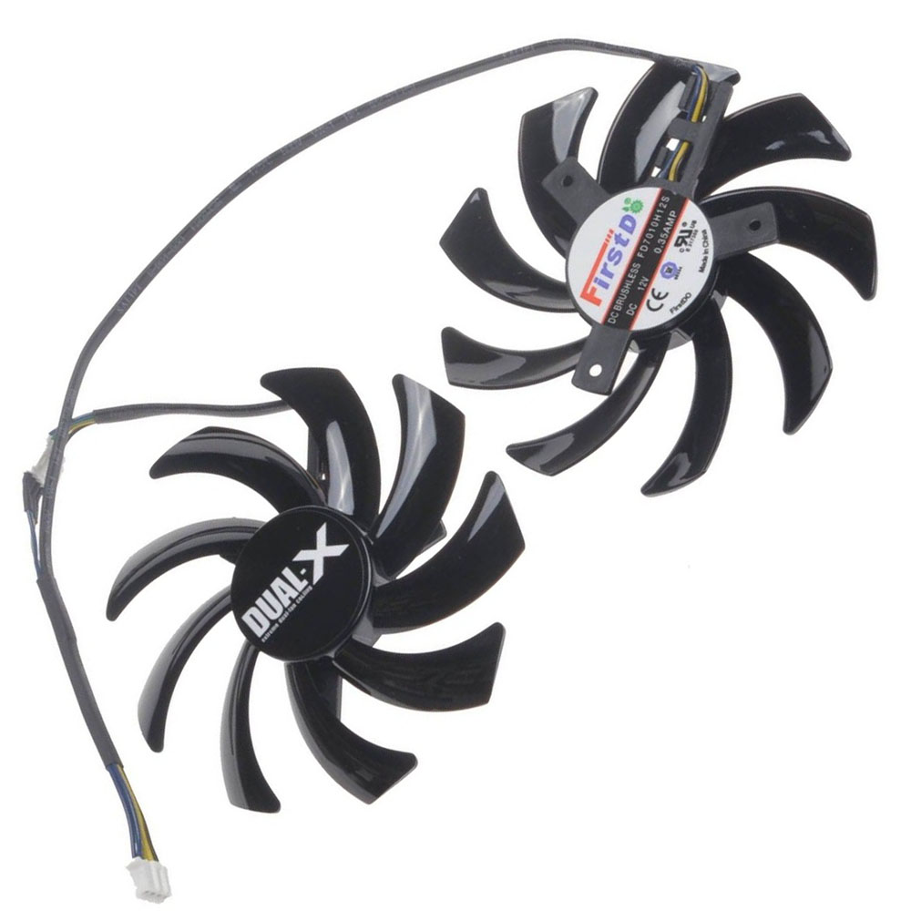 2 Pcs/Lot 85MM 4Pin Computer VGA Cooling Fan Cooler Graphics Card Fan for Sapphire R9-370X/270/280/280X/285 Video cards cooling(China (Mainland))