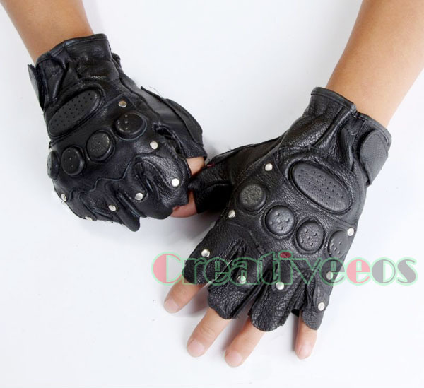 Men Genuine Leather Sheepskin Motorcycle Bike Car Gloves Sports Driving Cycling Fitness Fingerless Rivets Gloves Studded(China (Mainland))