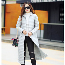 2016 New Fashion Ladies Long Spring Autumn Overcoat Women Ultra Light Down Coat With Bag ladies' Jackets(China (Mainland))