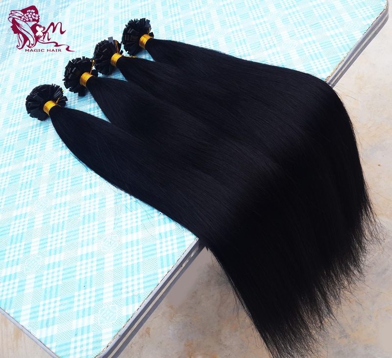 Keratin Hair Extensions Human Pre Bonded flat tip hair extensions hair capsules Brazilian Virgin Hair Black Brown Blonde 20''22'(China (Mainland))