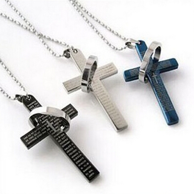 New 3 Colors Stainless Steel Necklaces Men/Brand Prayer Cross Men Pendant Necklaces Fashion Jewerly(China (Mainland))