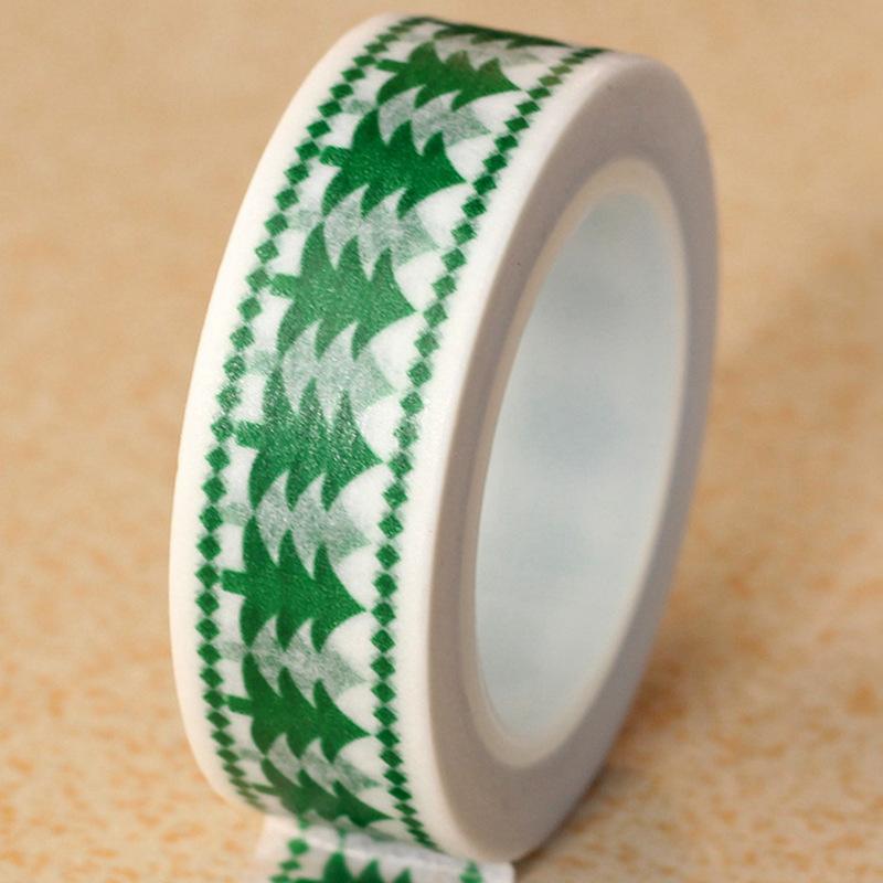 1X Adhesive Washi Tape Christmas various patterns Scrapbooking Diy Craft Sticky Deco Japanese Paper Masking Tape