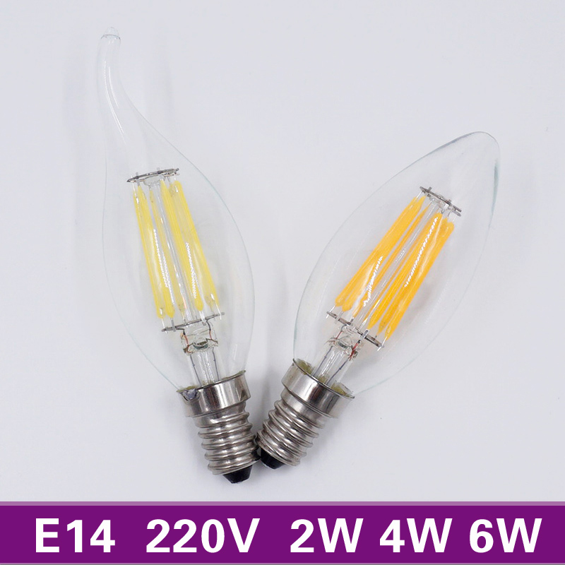 MB-Lighting Retro LED Candle E14 Bulb 220V 2W 4W 6W Antique Style Filament Light Bulb Cold White / Warm White(China (Mainland))