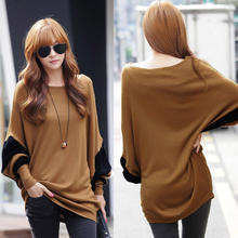 Korean Style Fashion Slouchy Women t Shirt Contrast Batwing Sleeve Camisa Feminina Long Loose Pullover Ropa Mujer Brown(China (Mainland))