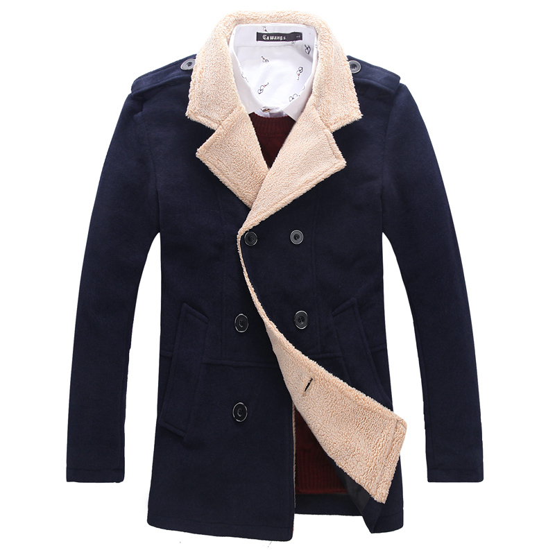 buy casaco masculino 2015 new winter fashion beckham double breasted long wool coat mens pea. Black Bedroom Furniture Sets. Home Design Ideas