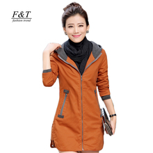 2016 New autunm and winter women trench coat slim fashion plus size 5XL medium-long windbreaker patchwork OL hooded outwear(China (Mainland))