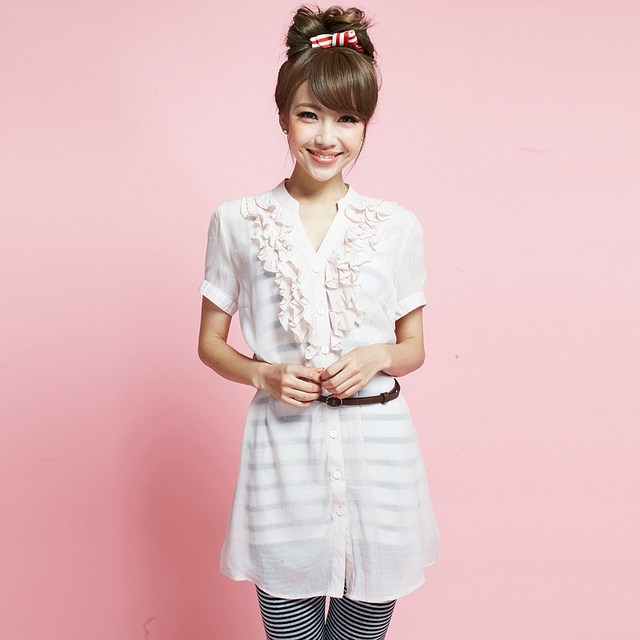 2013 New VANCL Women Blouse Ruffled Lapel Fashion Top with Belt Cute Short Sleeve Viscose Shirt Pink FREE SHIPPING