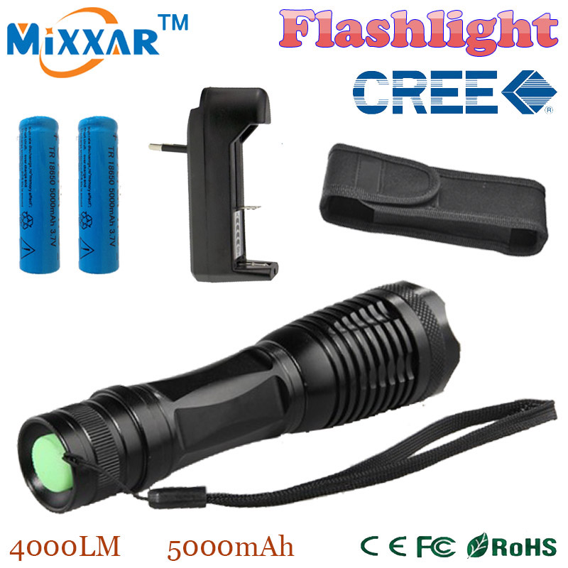 RUZK5 LED torch XML-T6 4000 LM Led flashlight Focus lamp Zoomable lights+Charger + 2*18650 5000mAh Rechargeable battery+Holster(China (Mainland))