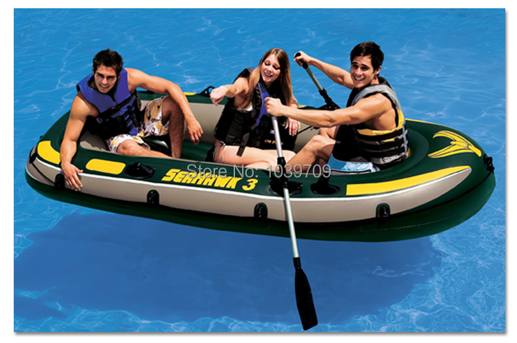 Intex Seahawk 3 person fishing boat inflatable kayak inflatable boat 295cm*137cm*43cm, included a pair of oars, hand pump(China (Mainland))
