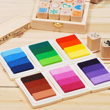 6 Colors Hot Sale Creative Delicate DIY Oil Scrapbook Albums Gradient Stamp Set Ink Pad Inkpad Craft Tin(China (Mainland))