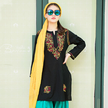 2016 summer clothing 100% cotton embroidery bohemia long top female black and red India Pakistan Thailand style traditional(China (Mainland))