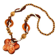 Fashion Bohemian Vintage Ethnic Wood Elephant Long Sweater Chain Necklaces Pendants for Women Statement Necklace Jewelry