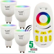 5W MiLight LED Bulb GU10 220V RGBW RGBWW Dimmable Lamp Light 86-265V Spotlight Indoor + 2.4G RF Wireless LED Remote Control(China (Mainland))