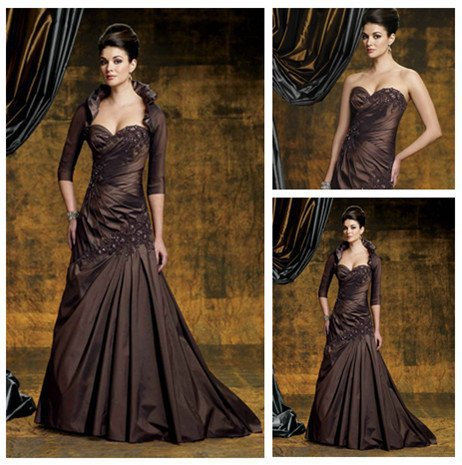 Hot selltaffeta lace winter fashion mother of the bride for Dresses for mother of the bride winter wedding