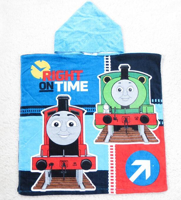 New 2015 Thomas Hooded Towel For Children Cartoon Bath Towel Top Quality Beach Towels in stock(China (Mainland))