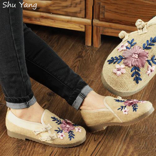 New Spring Retro Style Shoes Woman,Women Old Peking Flats Chinese Flower Embroidery Casual Shoes Ladies Loafers zapatos mujer(China (Mainland))
