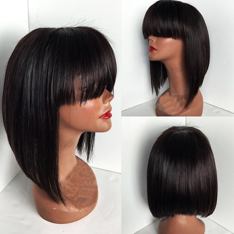 Virgin Human Hair Natural Black Short Bob Cut Wigs Glueless Full Lace and Lace Front Bob Wigs With Full Bangs/Fringe blunt cut