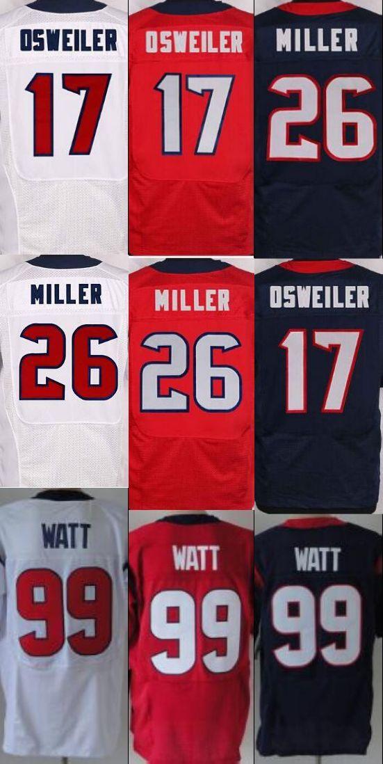 Herren jersey, Elite99 JJ Watt 17 Brock Osweiler 26 Lamar Miller jersey blau rot weiß genähtes(China (Mainland))