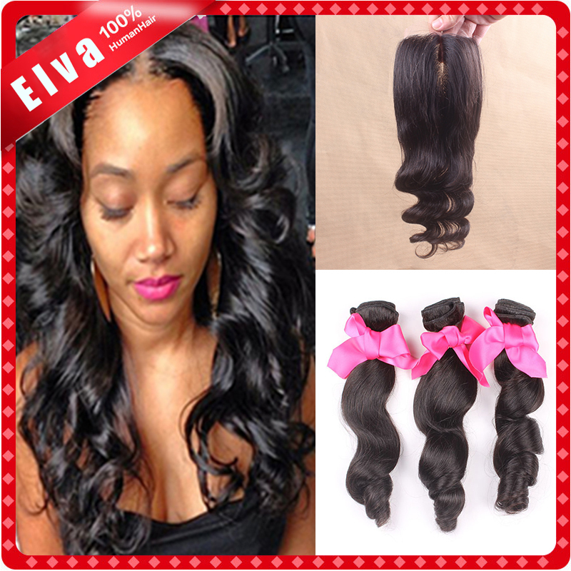 Brazilian virgin hair with closure loose wave 3bundles with 1pc lace closure cheap brazilian loose wave with closure human hair