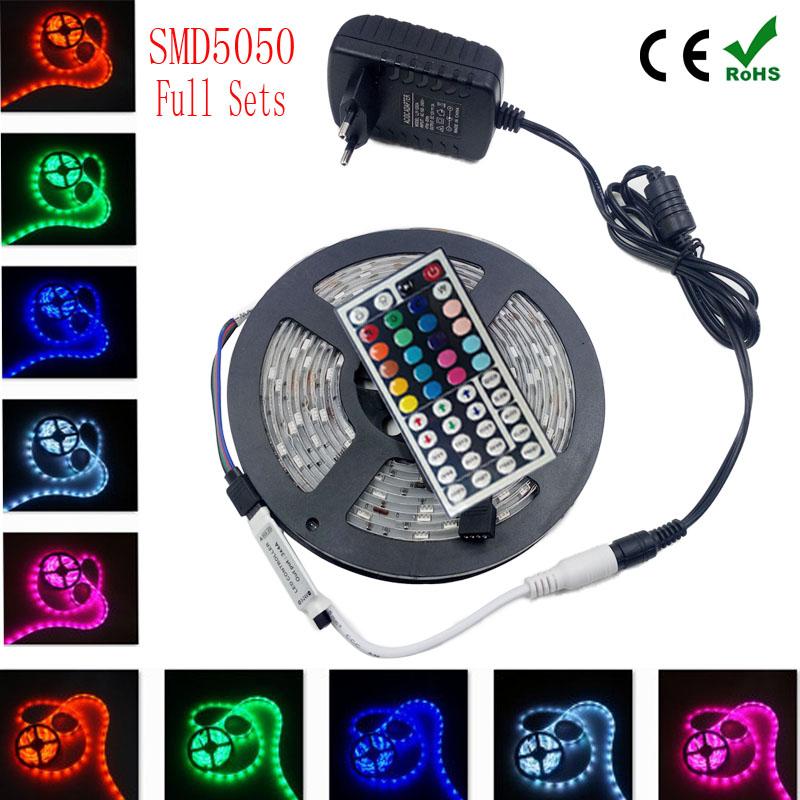 5050 RGB led strip 5m fita de 2835 3528 led RGB tape diode feed tiras lampada ac dc 12V led light+ IR rgb controller full set(China (Mainland))