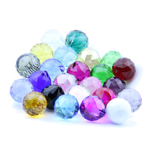 Mix Color  40mm 8 pcs/lot  Crysatl Faceted Ball  Crystal Prism Pendant  K9 Crystals Lamp Accessories Glass(China (Mainland))
