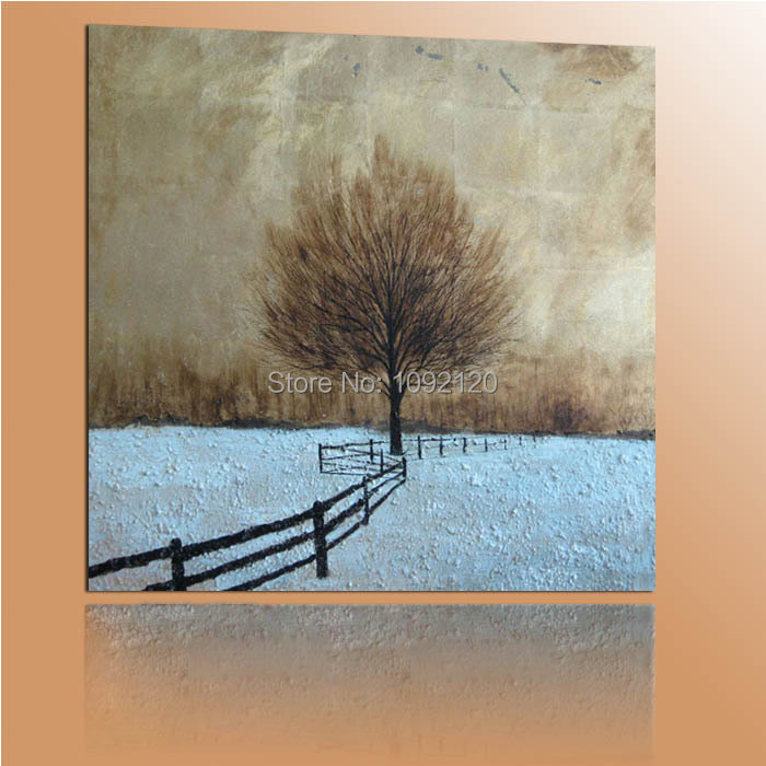 Hand Painted Winter Tree Landscape Modern Abstract Oil Painting On Canvas Wall Art Decor For Living Room As Unique Gift(China (Mainland))