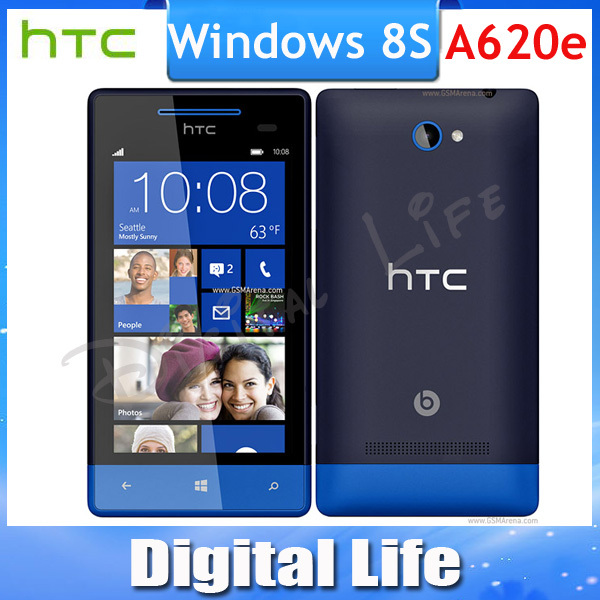 8S Original HTC Windows 8 Phone 8S A620e GPS WIFI 4.0''TouchScreen 5MP camera Win8 Unlocked Cell Phone(China (Mainland))