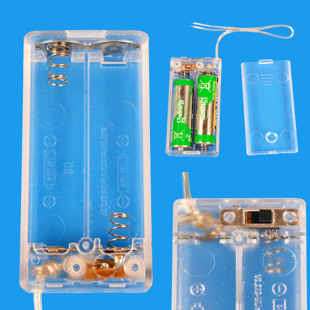 Battery Box Clear Color with Cover Case holder ON/OFF Switch for 2 AA 2AA 3V OutPut Batteries(China (Mainland))