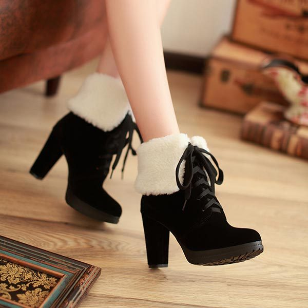 Фотография New Arrive 2014 Women Winter Ankle Boots High Heels Nubuck Leather Snow Boots Autumn martin Boots Women lace up short boots