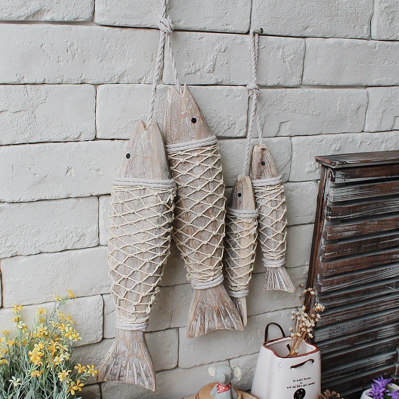 Wall Decoration Handicraft : Mediterranean style wooden hanging fish village decorated