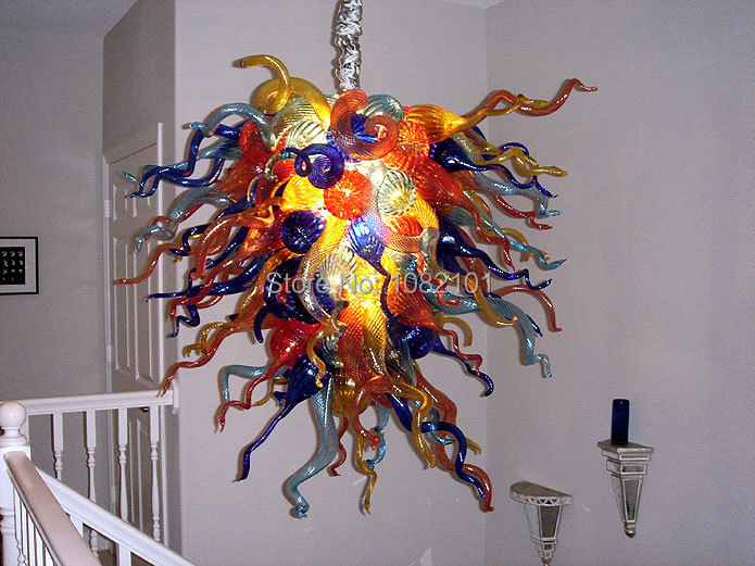 Free Shipping Pretty Art Decoration Multi Colored Glass Chandelier(China (Mainland))