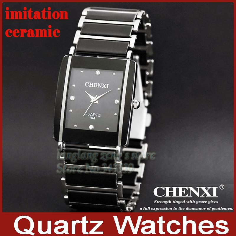 Нержавеющая сталь керамика прямоугольная мужские кварцевый аналоговый часы человек водонепроницаемый до запястья часы черный белый мужские свободного покроя часы
