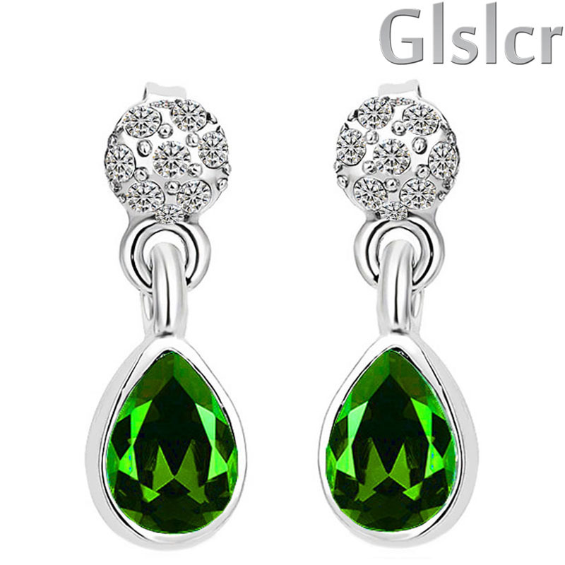 Fashion Emerald green Antiallergic 18K ROSE Gold Plated Women water drop statement crystal stud Earrings from india 80336(China (Mainland))