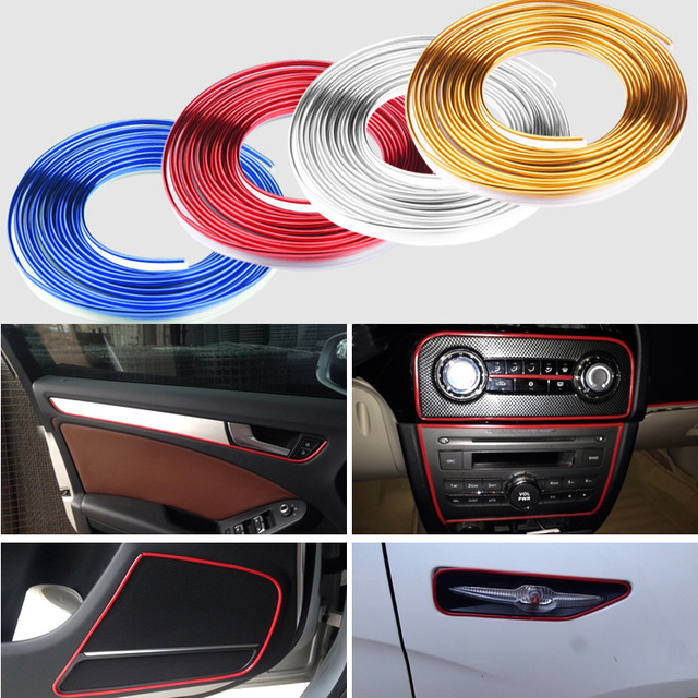 New Car Styling indoor Car Interior Exterior Body Modify Decal Mouldings Car Stickers Decoration Thread multicolor DIY so easy(China (Mainland))