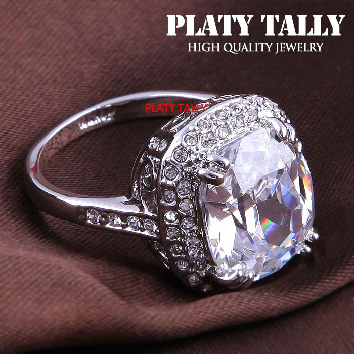 PTR080 Big Four Claw Real Platinum Plated Princess Cut Zircon Wedding Ring Made with Genuine Austrian Crystals Wholesale(China (Mainland))